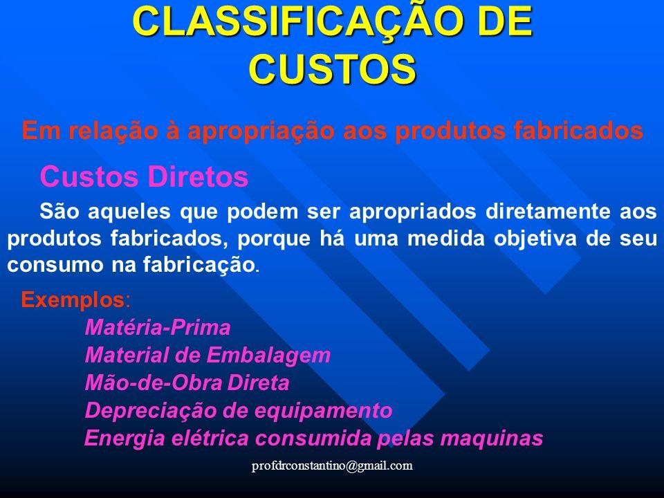 CLASSIFICAÇÃO DE CUSTOS