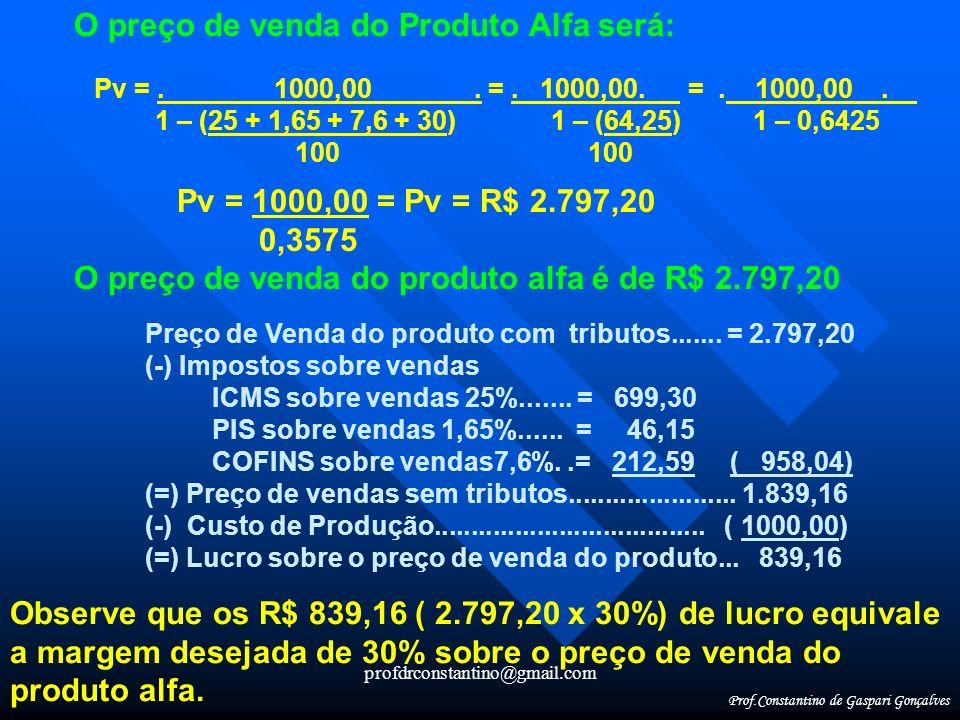 O preço de venda do Produto Alfa será: