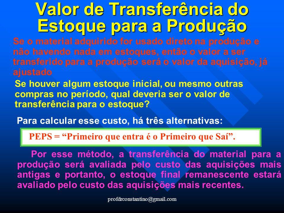 Valor de Transferência do Estoque para a Produção