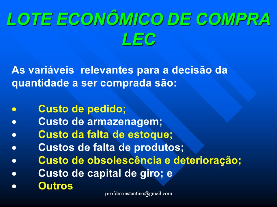 LOTE ECONÔMICO DE COMPRA LEC