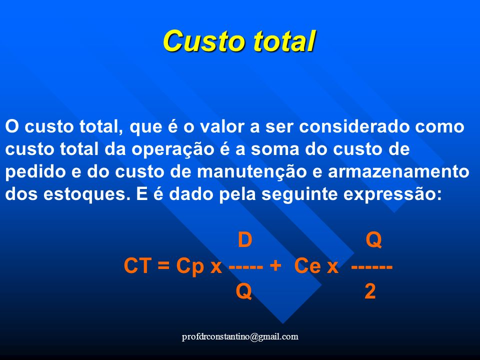 Custo total CT = Cp x ----- + Ce x ------ Q 2