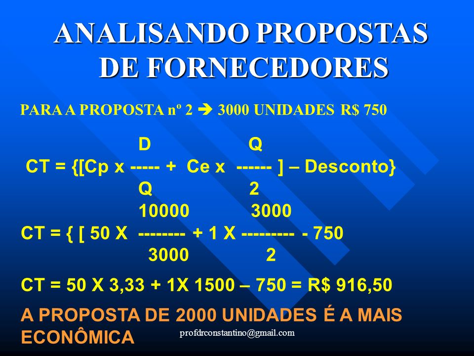 ANALISANDO PROPOSTAS DE FORNECEDORES
