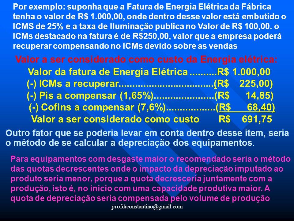 Valor a ser considerado como custo da Energia elétrica: