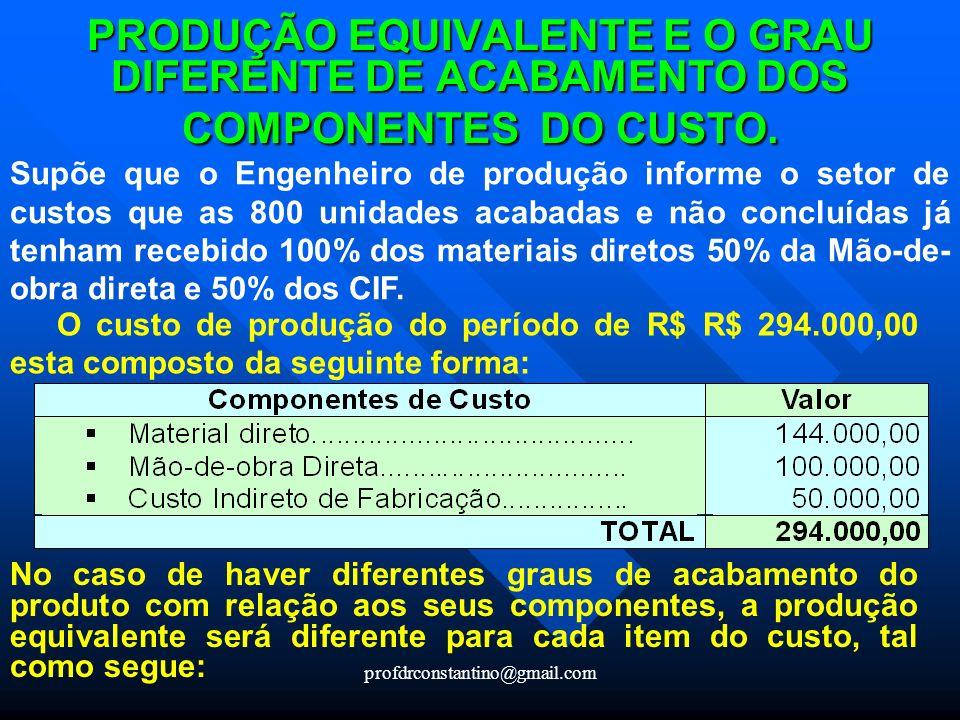 PRODUÇÃO EQUIVALENTE E O GRAU DIFERENTE DE ACABAMENTO DOS COMPONENTES DO CUSTO.