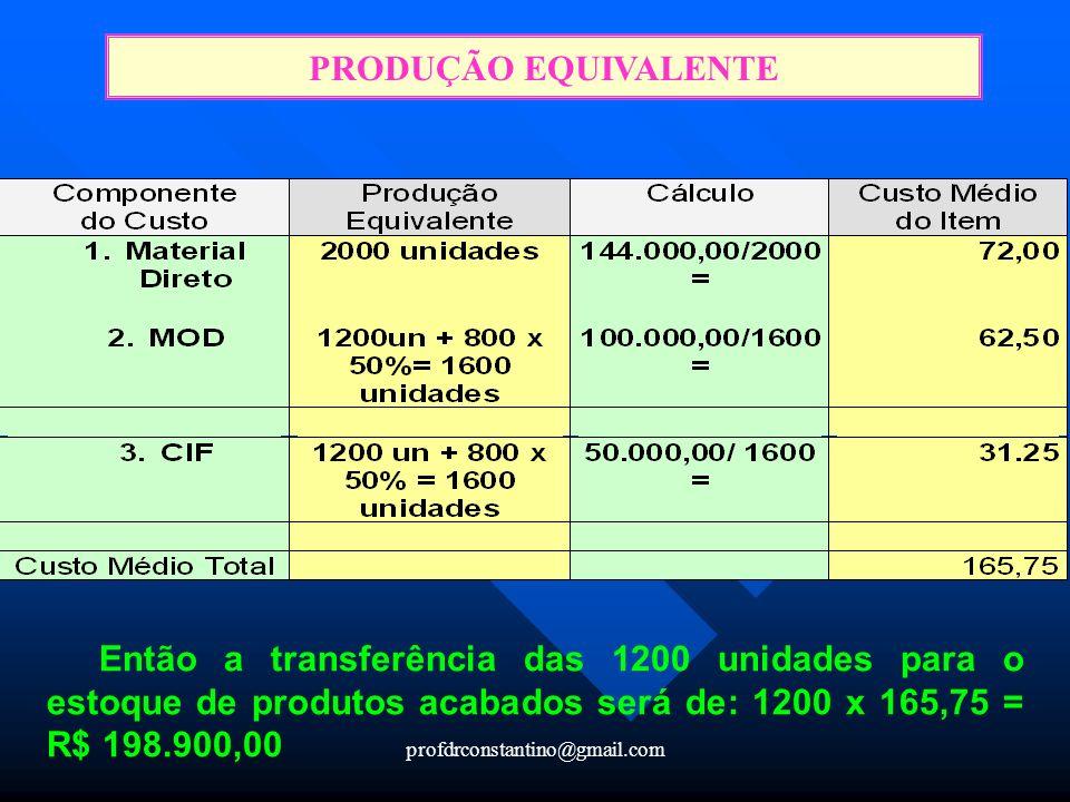 PRODUÇÃO EQUIVALENTE Então a transferência das 1200 unidades para o estoque de produtos acabados será de: 1200 x 165,75 = R$ 198.900,00.