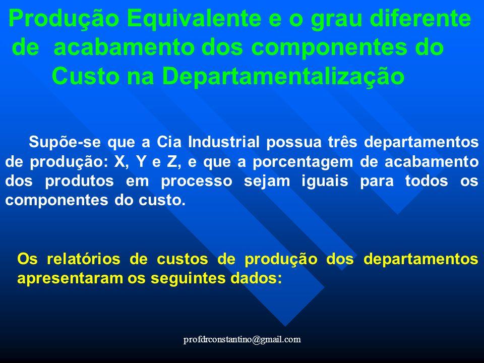 Produção Equivalente e o grau diferente de acabamento dos componentes do Custo na Departamentalização
