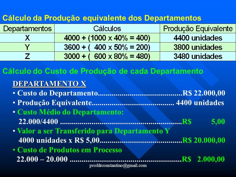 Cálculo da Produção equivalente dos Departamentos
