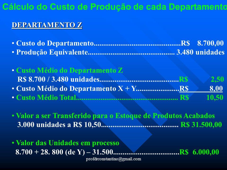 Cálculo do Custo de Produção de cada Departamento