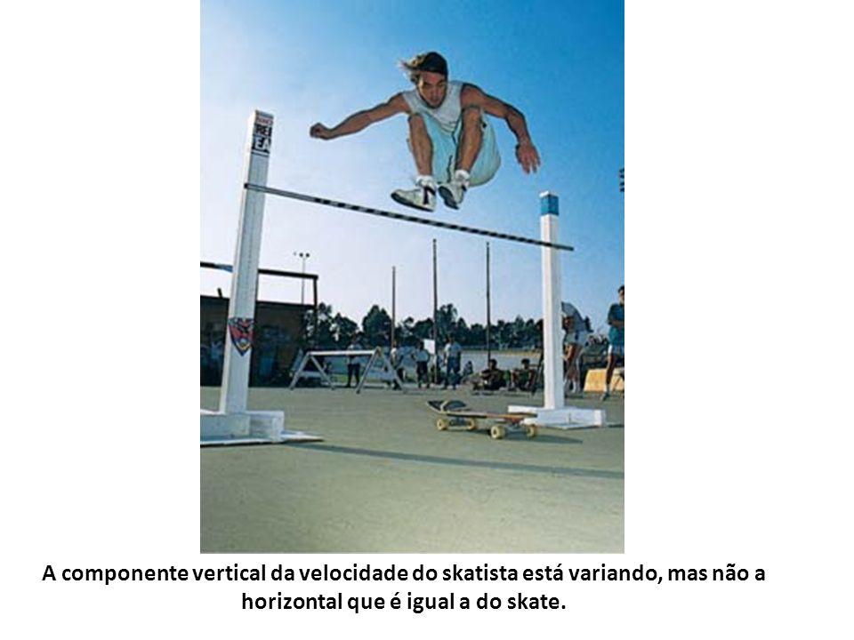 A componente vertical da velocidade do skatista está variando, mas não a horizontal que é igual a do skate.
