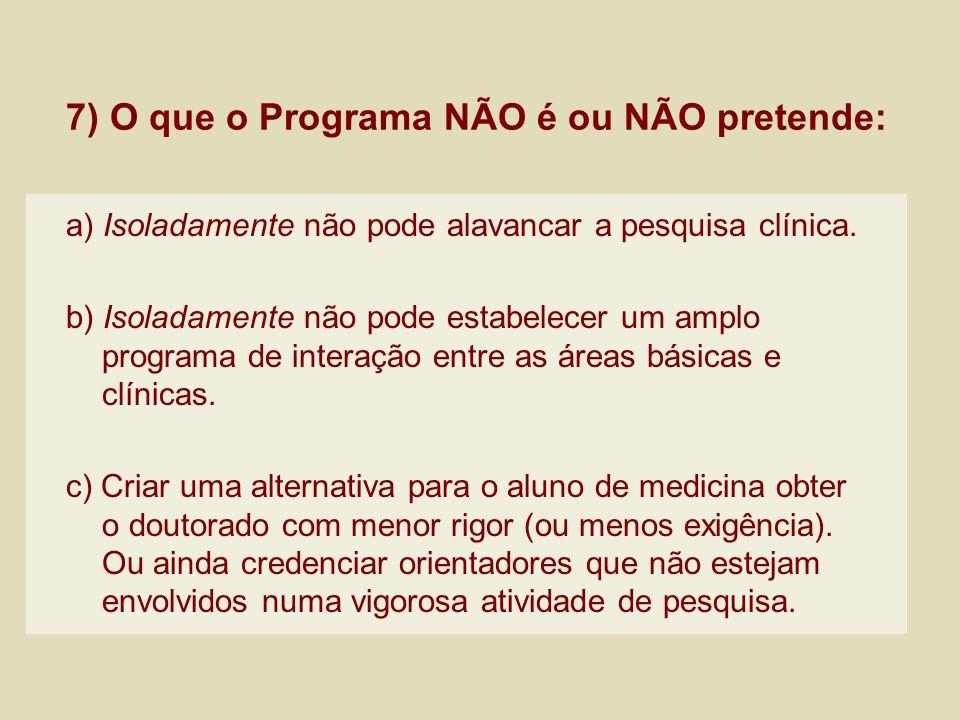 7) O que o Programa NÃO é ou NÃO pretende: