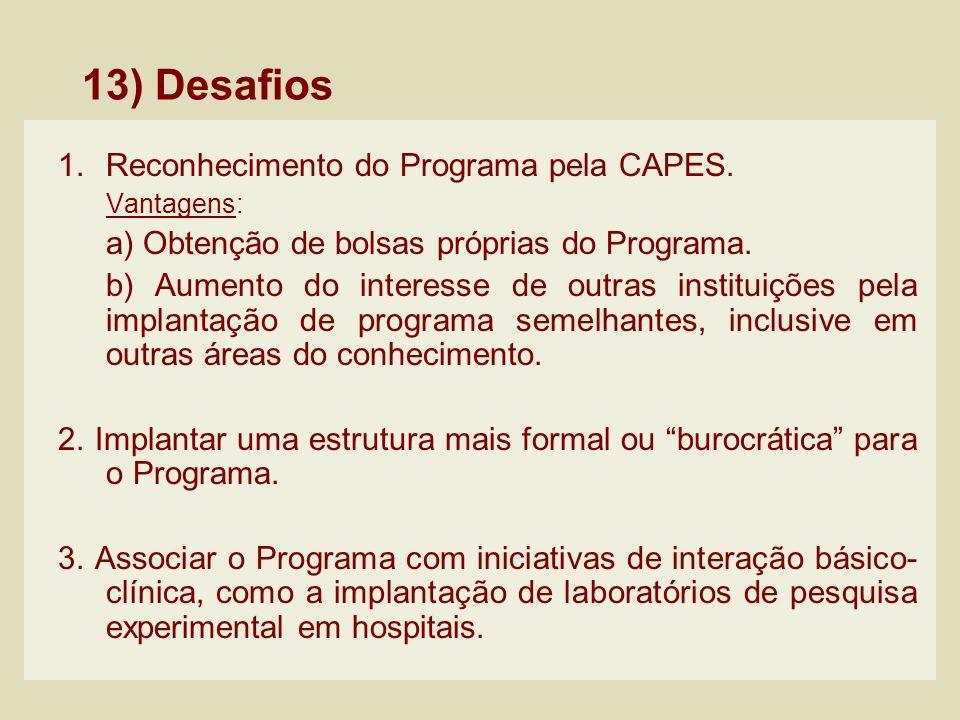 13) Desafios Reconhecimento do Programa pela CAPES.