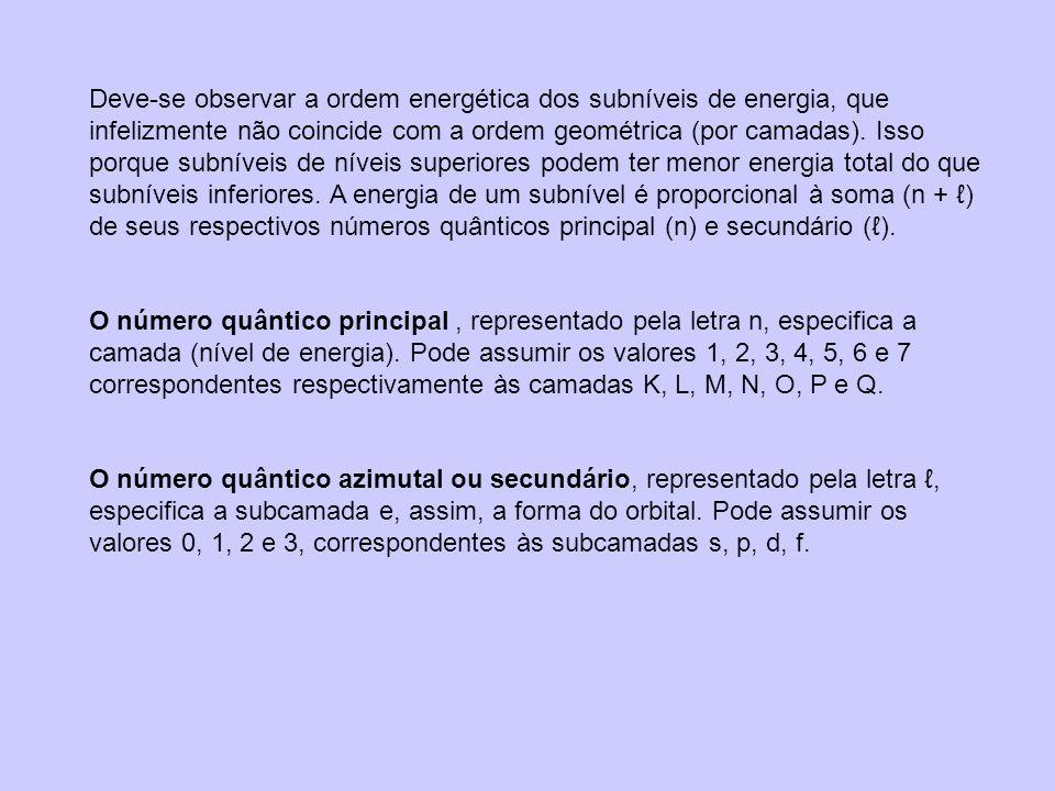 Deve-se observar a ordem energética dos subníveis de energia, que infelizmente não coincide com a ordem geométrica (por camadas). Isso porque subníveis de níveis superiores podem ter menor energia total do que subníveis inferiores. A energia de um subnível é proporcional à soma (n + ℓ) de seus respectivos números quânticos principal (n) e secundário (ℓ).