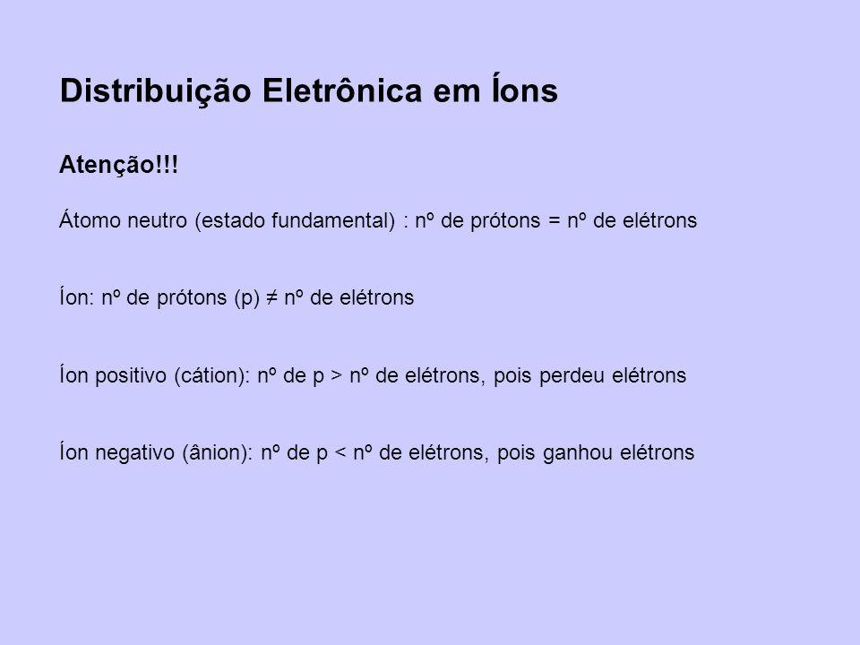 Distribuição Eletrônica em Íons