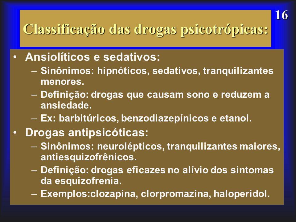 Classificação das drogas psicotrópicas: