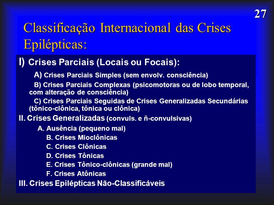 Classificação Internacional das Crises Epilépticas: