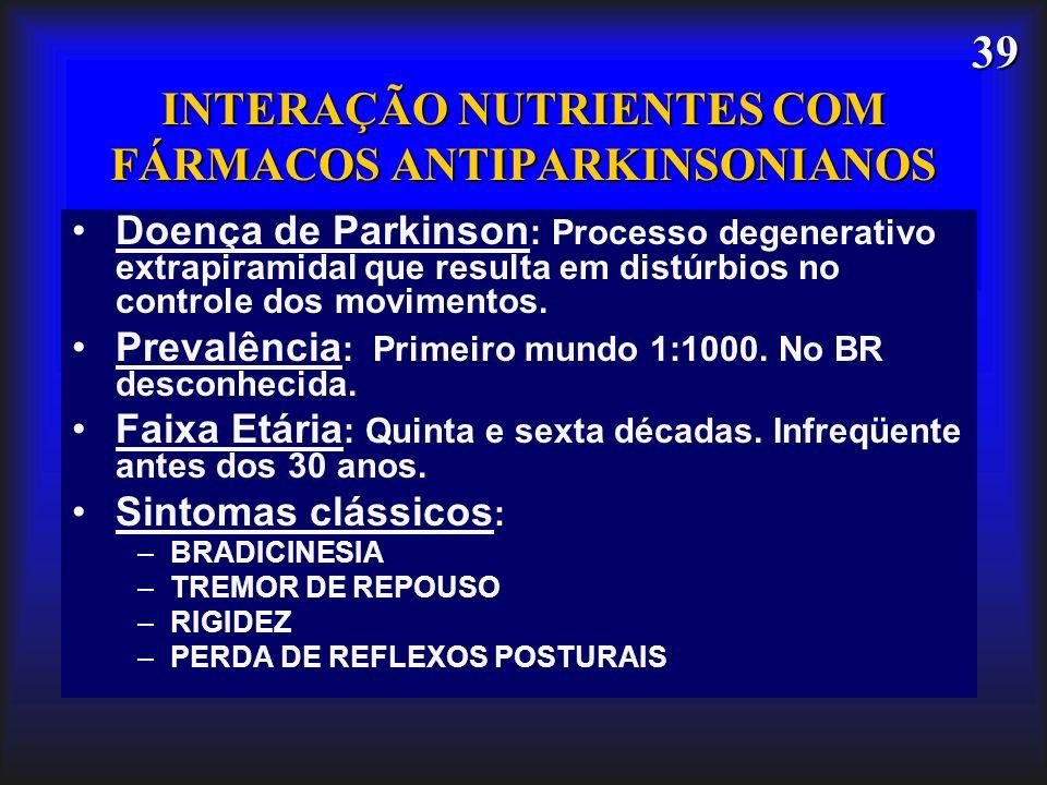 INTERAÇÃO NUTRIENTES COM FÁRMACOS ANTIPARKINSONIANOS