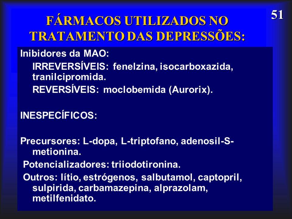 FÁRMACOS UTILIZADOS NO TRATAMENTO DAS DEPRESSÕES:
