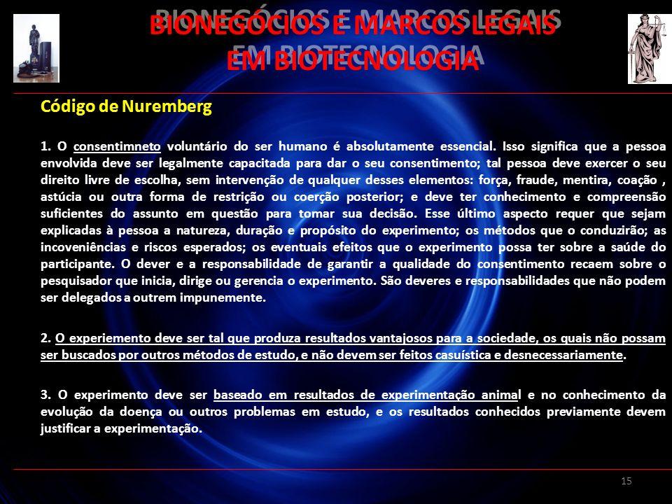 BIONEGÓCIOS E MARCOS LEGAIS EM BIOTECNOLOGIA