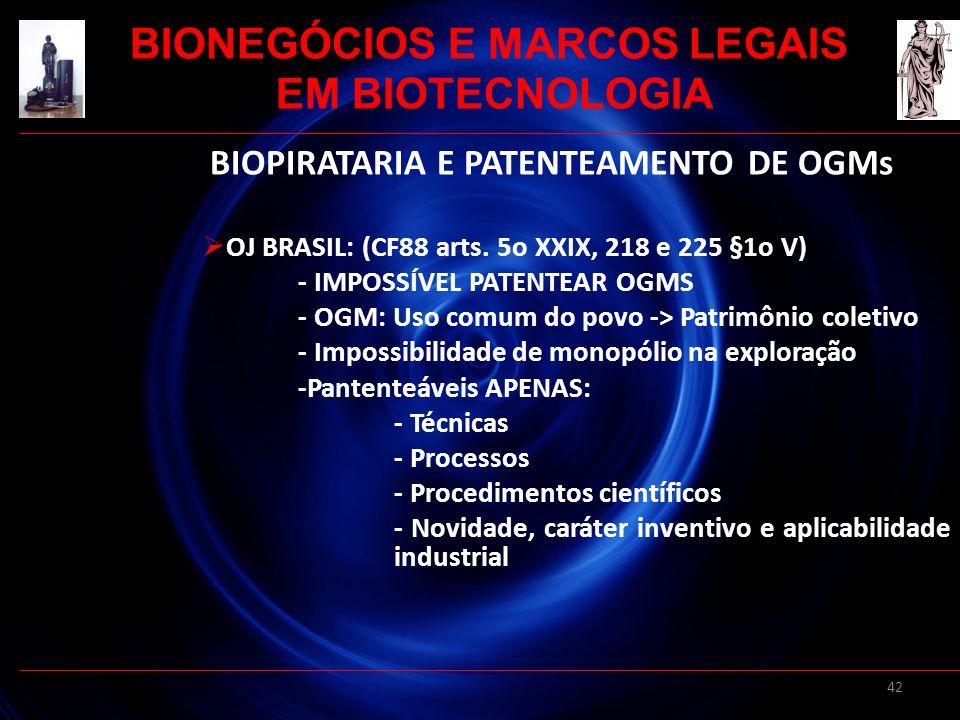 BIONEGÓCIOS E MARCOS LEGAIS BIOPIRATARIA E PATENTEAMENTO DE OGMs