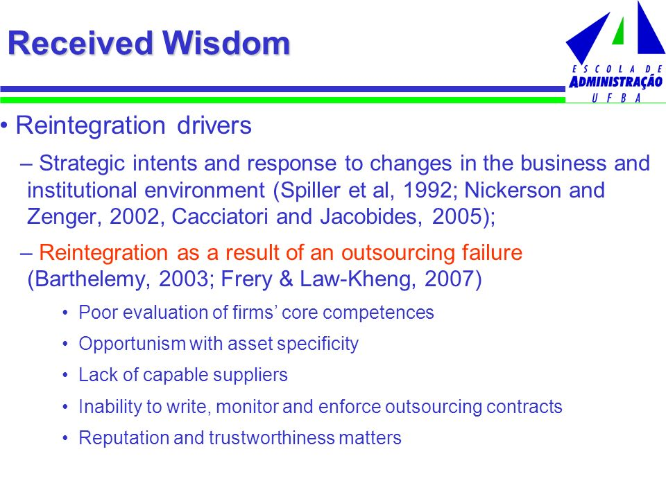 Received Wisdom Reintegration drivers