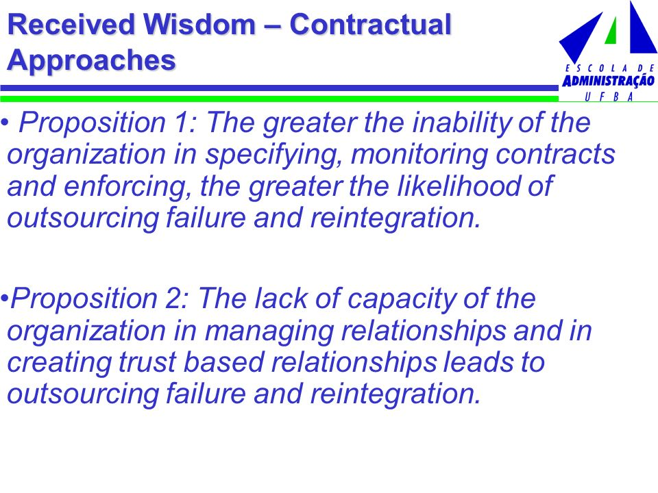 Received Wisdom – Contractual Approaches