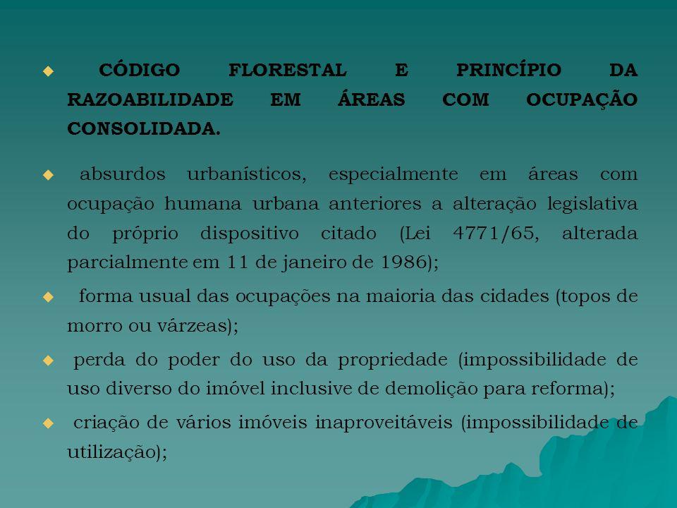 CÓDIGO FLORESTAL E PRINCÍPIO DA RAZOABILIDADE EM ÁREAS COM OCUPAÇÃO CONSOLIDADA.