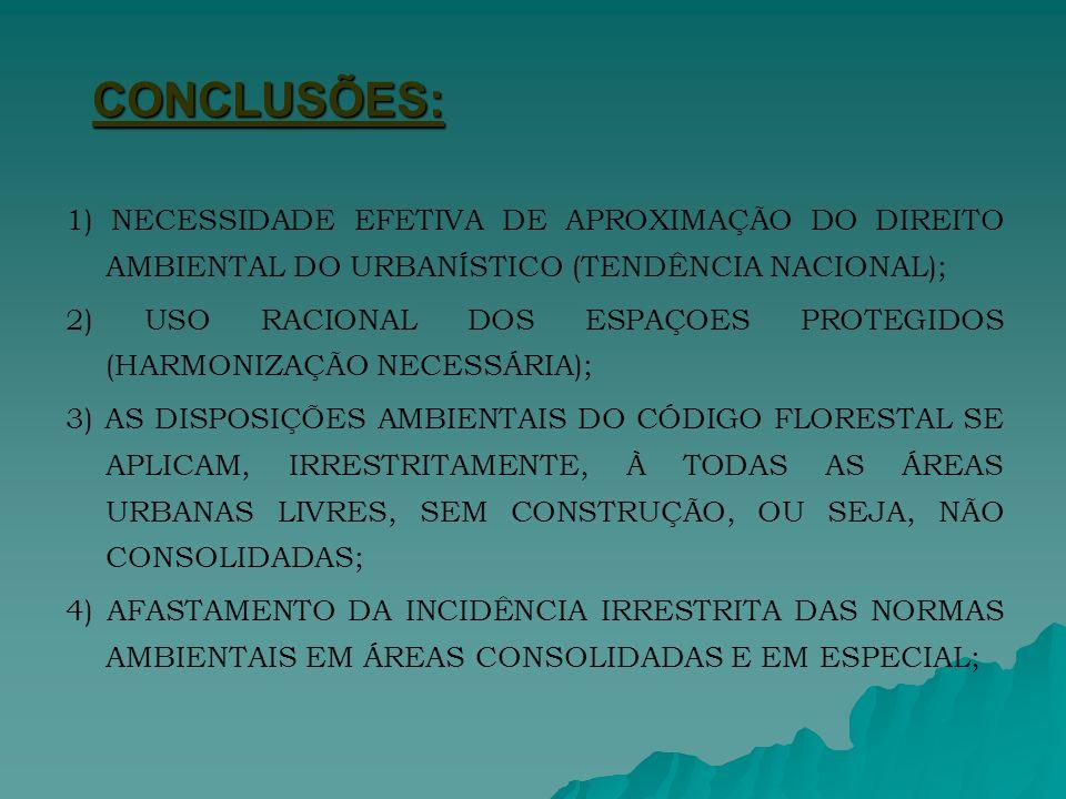 CONCLUSÕES: 1) NECESSIDADE EFETIVA DE APROXIMAÇÃO DO DIREITO AMBIENTAL DO URBANÍSTICO (TENDÊNCIA NACIONAL);