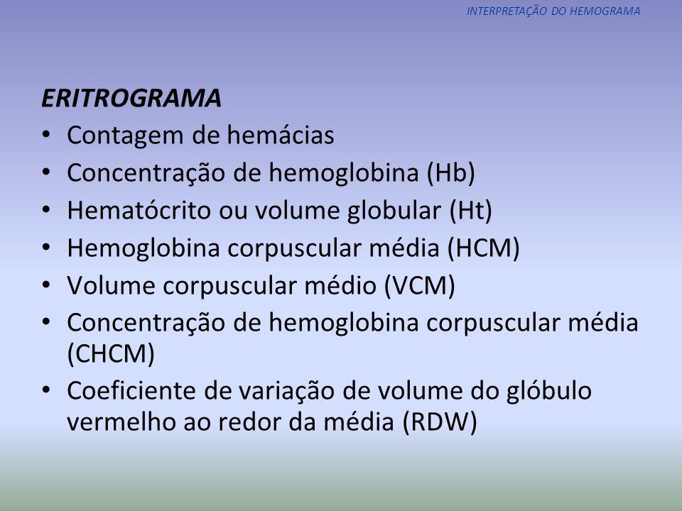 Concentração de hemoglobina (Hb) Hematócrito ou volume globular (Ht)