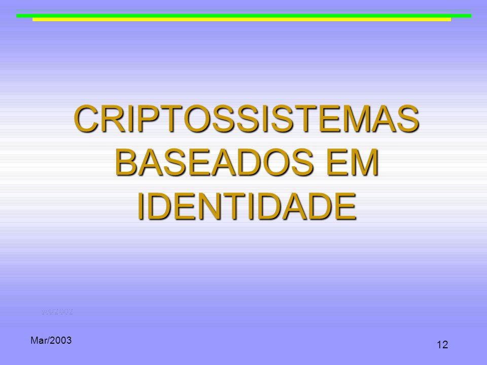 CRIPTOSSISTEMAS BASEADOS EM IDENTIDADE