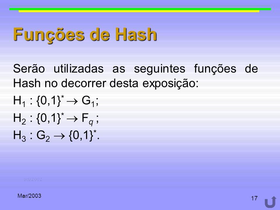 Funções de Hash Serão utilizadas as seguintes funções de Hash no decorrer desta exposição: H1 : {0,1}*  G1;