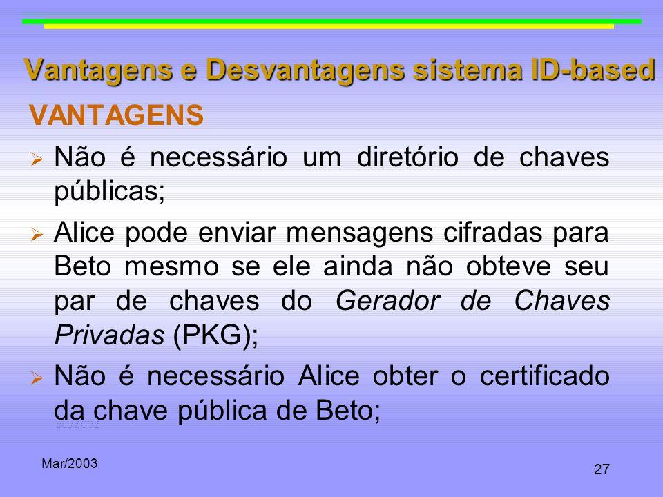Vantagens e Desvantagens sistema ID-based