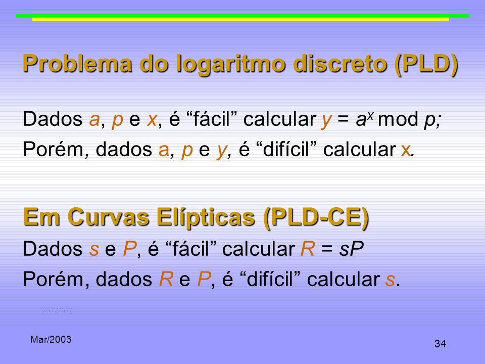 Problema do logaritmo discreto (PLD)