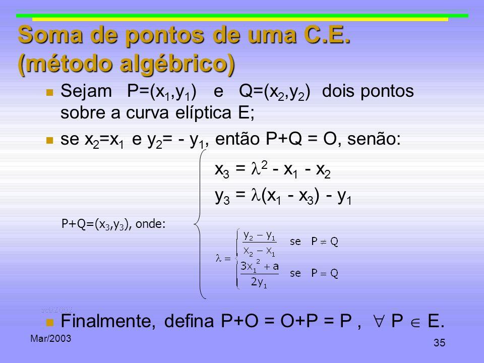 Soma de pontos de uma C.E. (método algébrico)