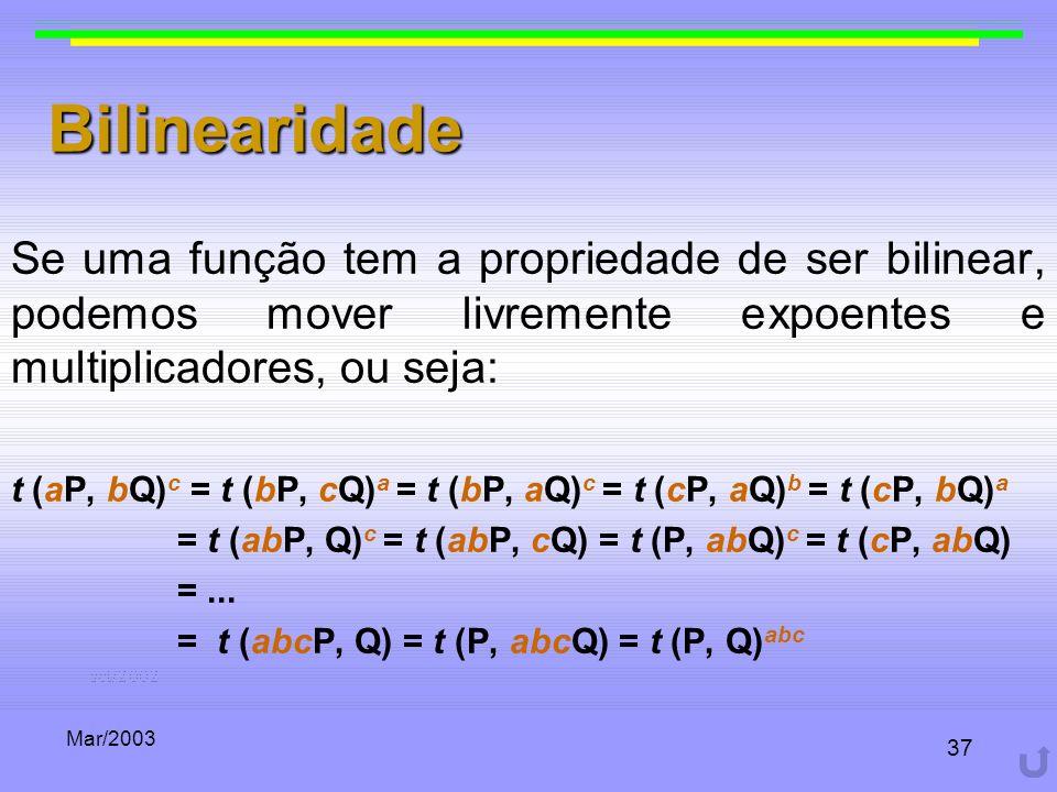 Bilinearidade Se uma função tem a propriedade de ser bilinear, podemos mover livremente expoentes e multiplicadores, ou seja: