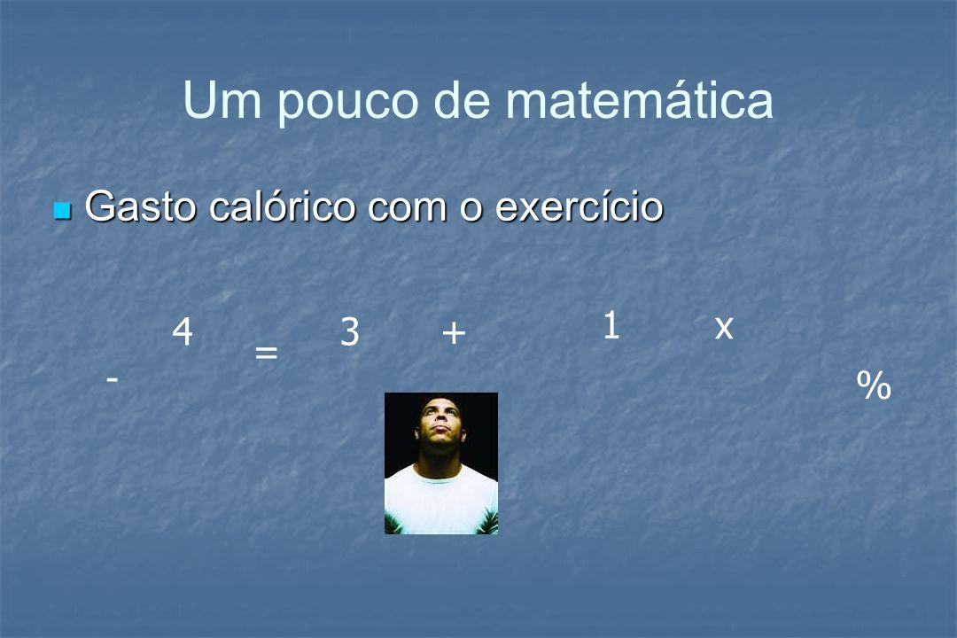 Um pouco de matemática Gasto calórico com o exercício 1 x 4 3 + = - %