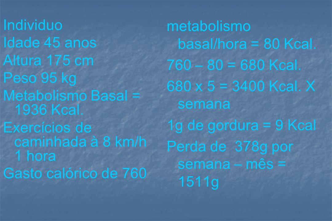 metabolismo basal/hora = 80 Kcal.