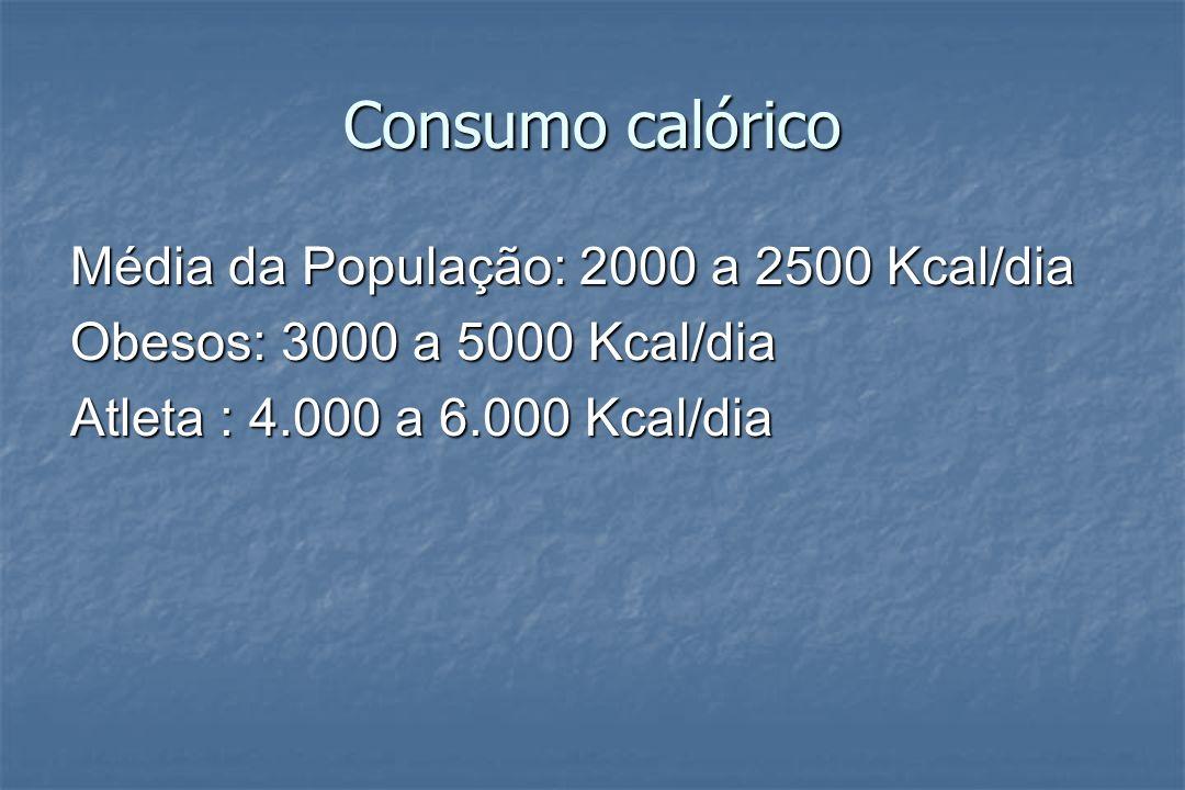 Consumo calórico Média da População: 2000 a 2500 Kcal/dia