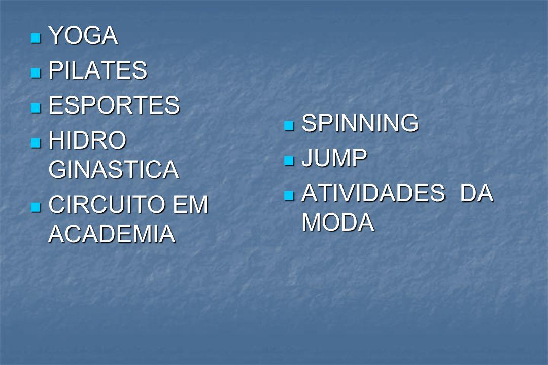 YOGA PILATES ESPORTES HIDRO GINASTICA CIRCUITO EM ACADEMIA SPINNING JUMP ATIVIDADES DA MODA