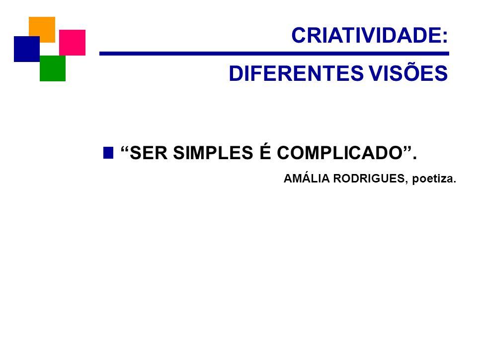 CRIATIVIDADE: DIFERENTES VISÕES SER SIMPLES É COMPLICADO .