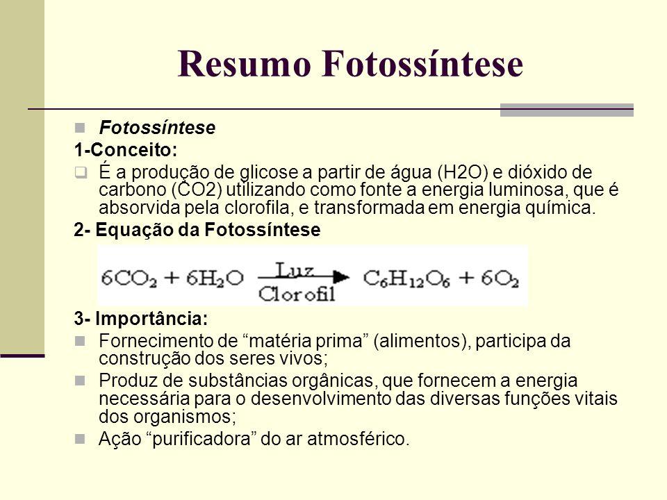 Resumo Fotossíntese Fotossíntese 1-Conceito:
