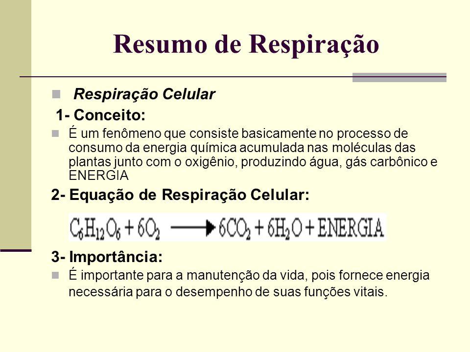 Resumo de Respiração Respiração Celular 1- Conceito:
