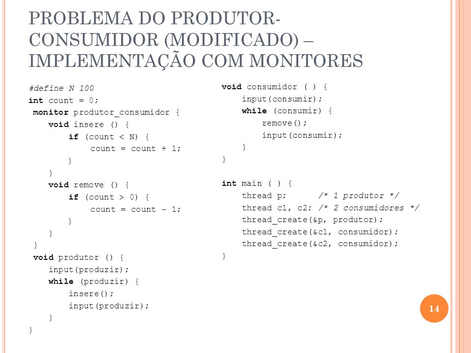 PROBLEMA DO PRODUTOR-CONSUMIDOR (MODIFICADO) – IMPLEMENTAÇÃO COM MONITORES