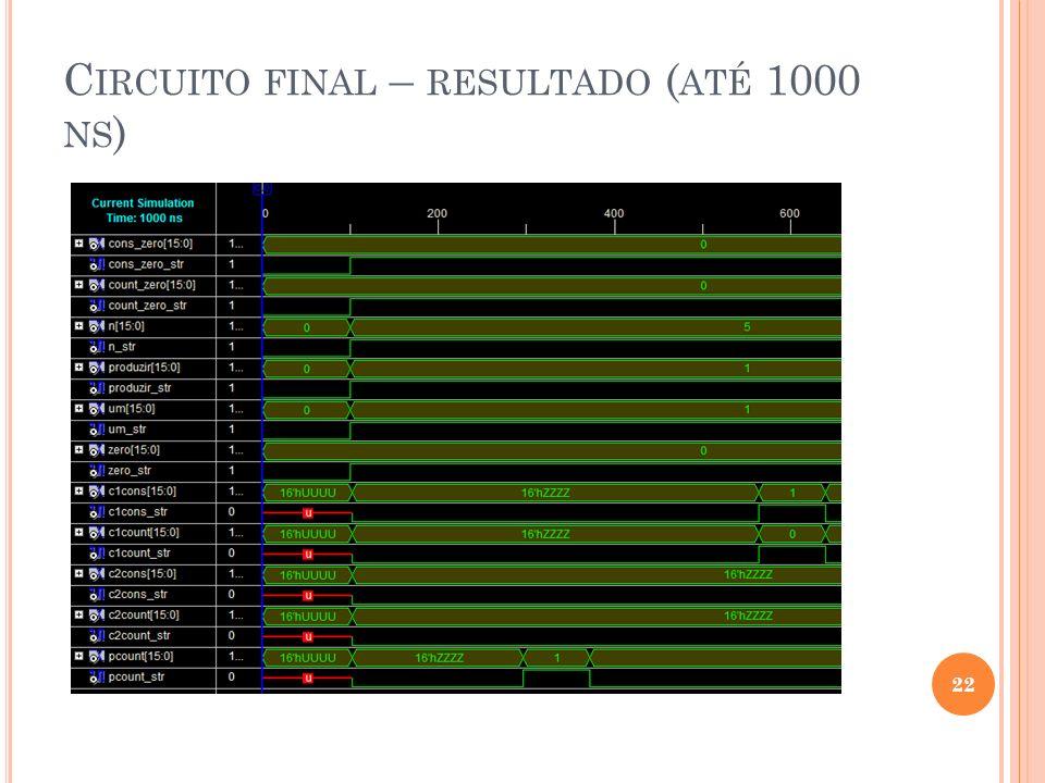 Circuito final – resultado (até 1000 ns)