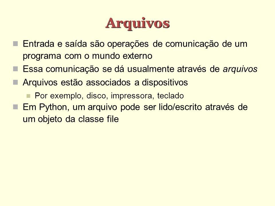 Arquivos Entrada e saída são operações de comunicação de um programa com o mundo externo. Essa comunicação se dá usualmente através de arquivos.