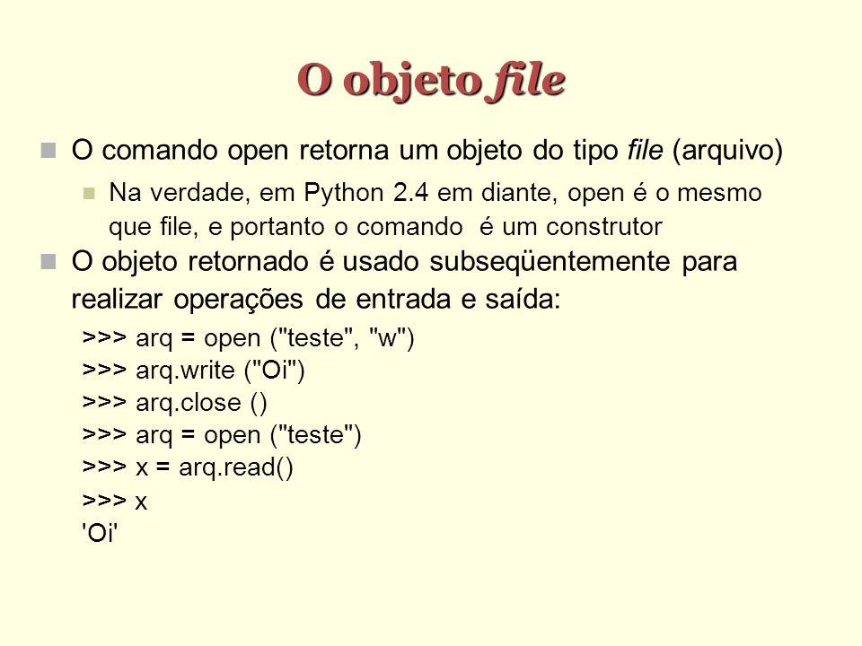 O objeto file O comando open retorna um objeto do tipo file (arquivo)