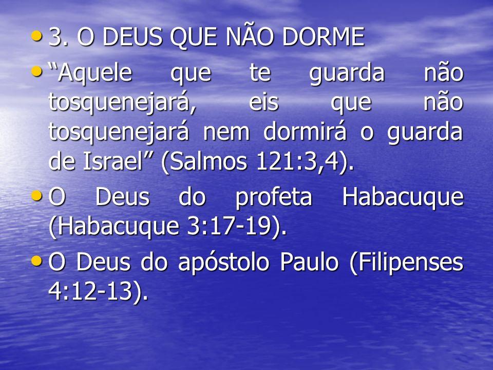 3. O DEUS QUE NÃO DORME Aquele que te guarda não tosquenejará, eis que não tosquenejará nem dormirá o guarda de Israel (Salmos 121:3,4).