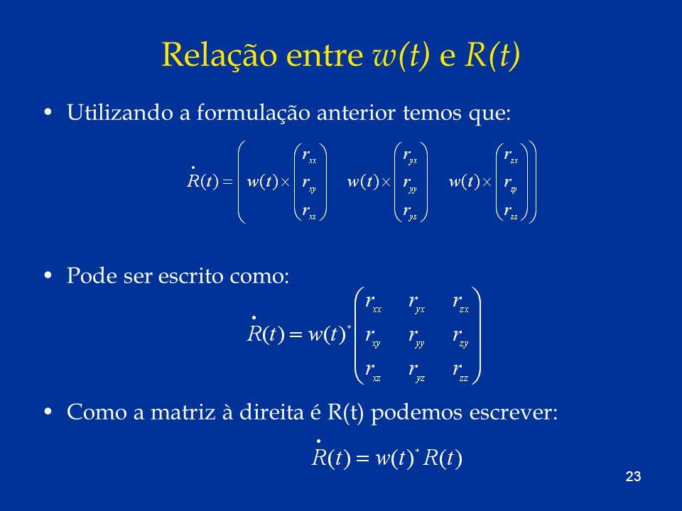 Relação entre w(t) e R(t)