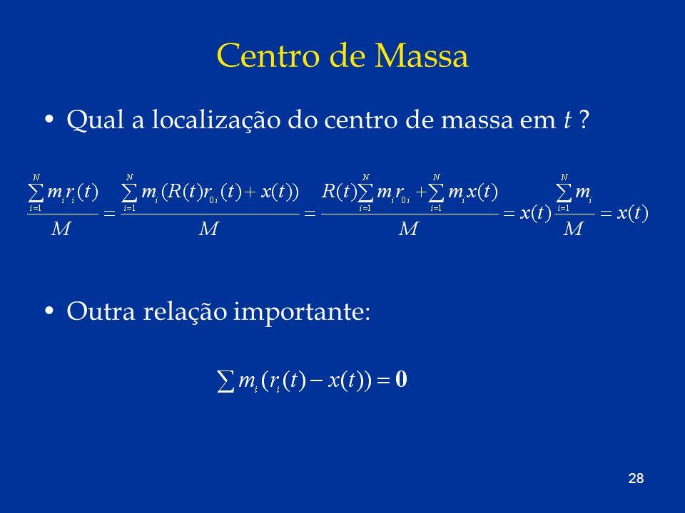 Centro de Massa Qual a localização do centro de massa em t