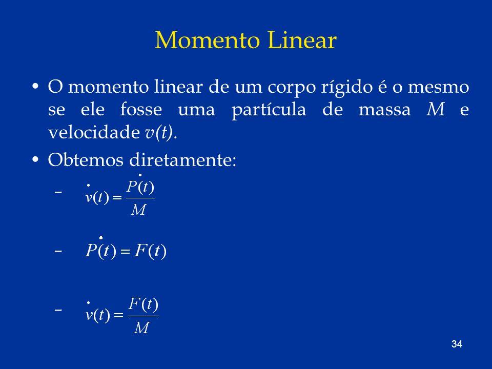 Momento Linear O momento linear de um corpo rígido é o mesmo se ele fosse uma partícula de massa M e velocidade v(t).