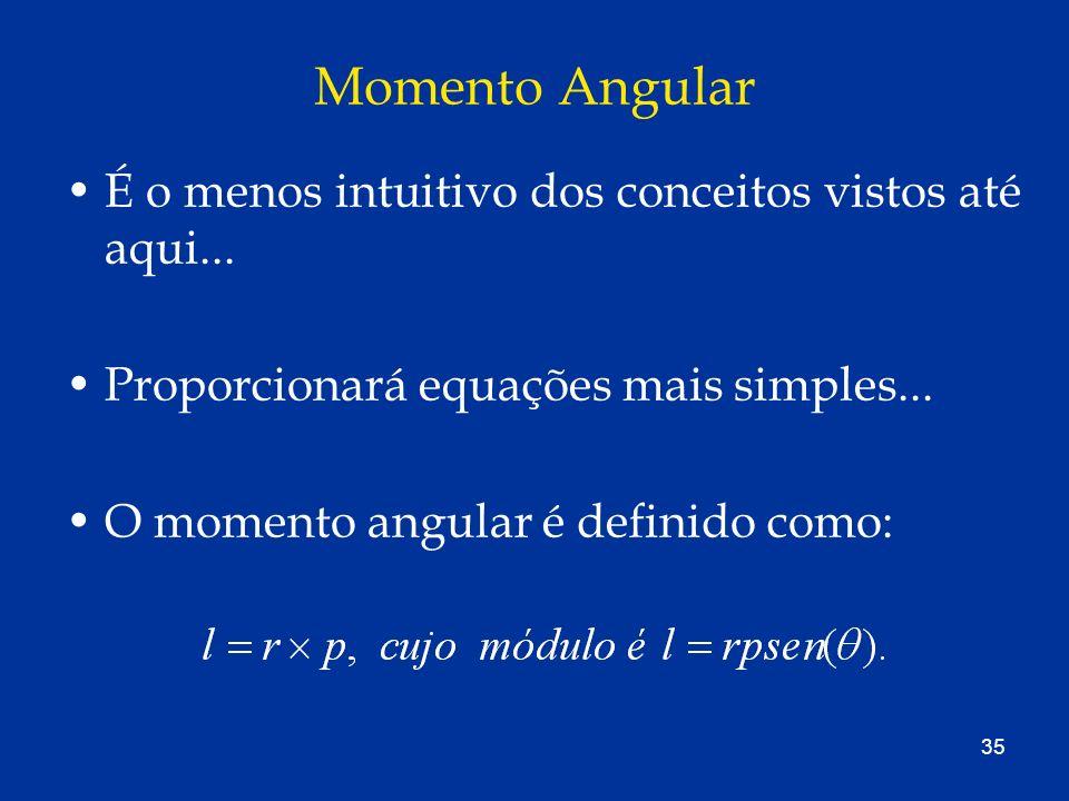 Momento Angular É o menos intuitivo dos conceitos vistos até aqui...